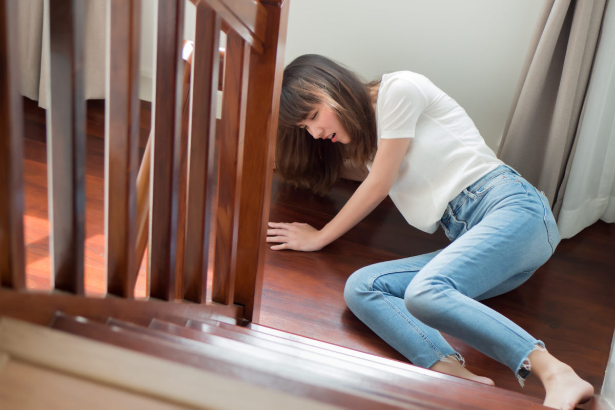 Sturz auf Treppe