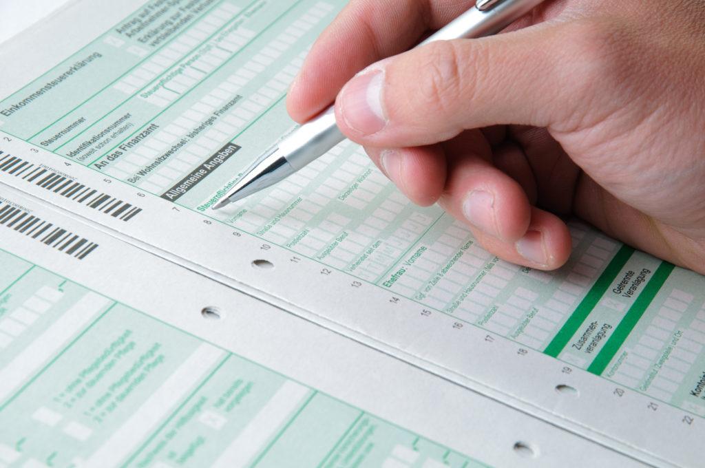 Mantelbogen der Einkommensteuererklärung.